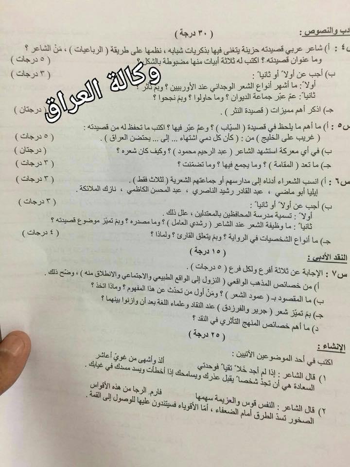 امتحان اللغة العربية للصف السادس الاعدادى الأدبى 2018 416