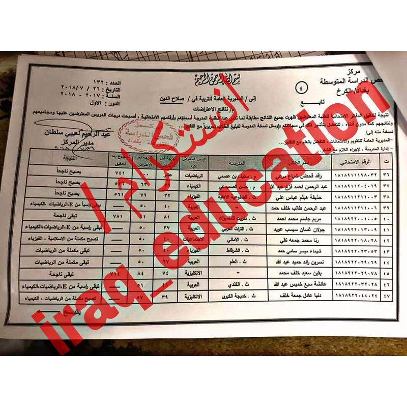 نتائج اعتراضات الصف الثالث متوسط الدور الأول ٢٠١٨ تربية صلاح الدين   528