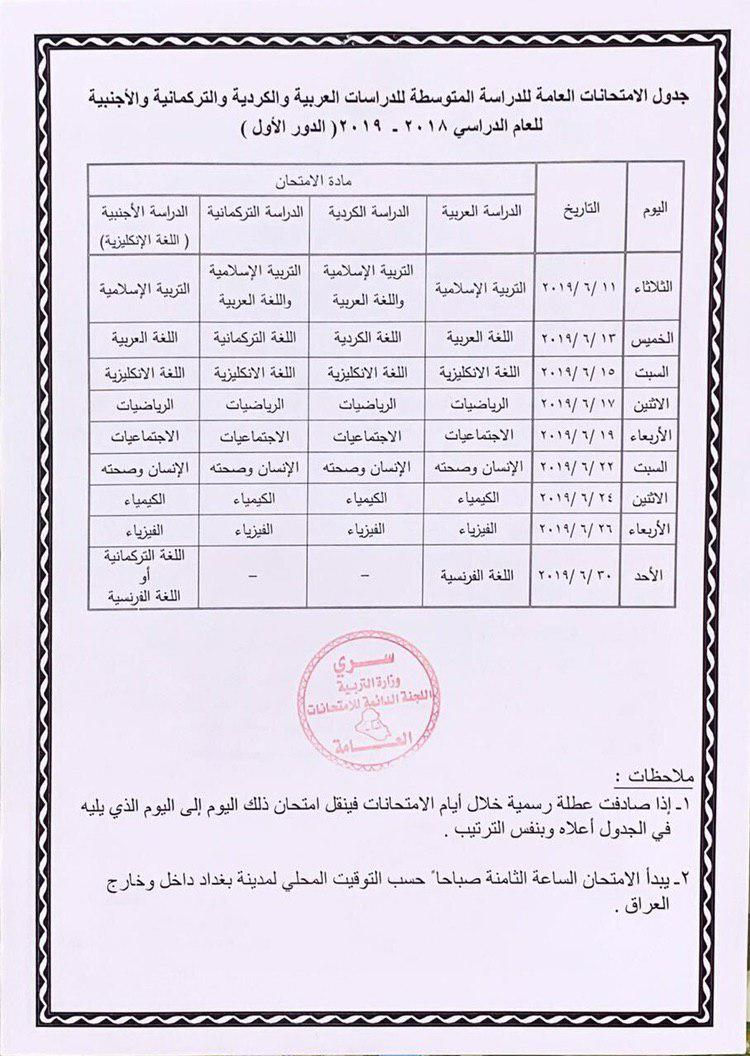 تأجيل امتحانات الوزاري للثالث المتوسط 2019 إلى مابعد العيد 555510