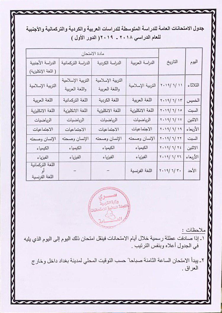 جدول امتحانات الصف الثالث متوسط الدور الاول 2019 وزارة التربية بعد التعديل 555511