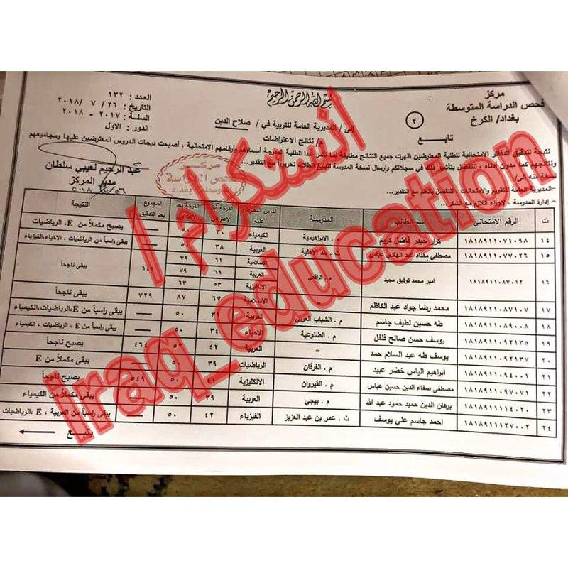 نتائج اعتراضات الصف الثالث متوسط الدور الأول ٢٠١٨ تربية صلاح الدين   622