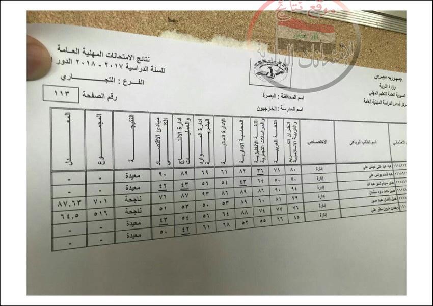 نتائج امتحانات المهني للطلبة الخارجيين محافظة البصرة للعام الدراسي 2017 - 2018 الدور الاول  914