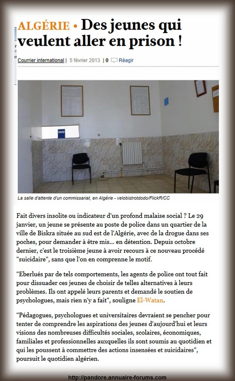 Un jeune se présente à la police de la ville Biskra en Algérie, avec de la drogue dans ses poches, pour demander à aller en prison : motivation ???? A27