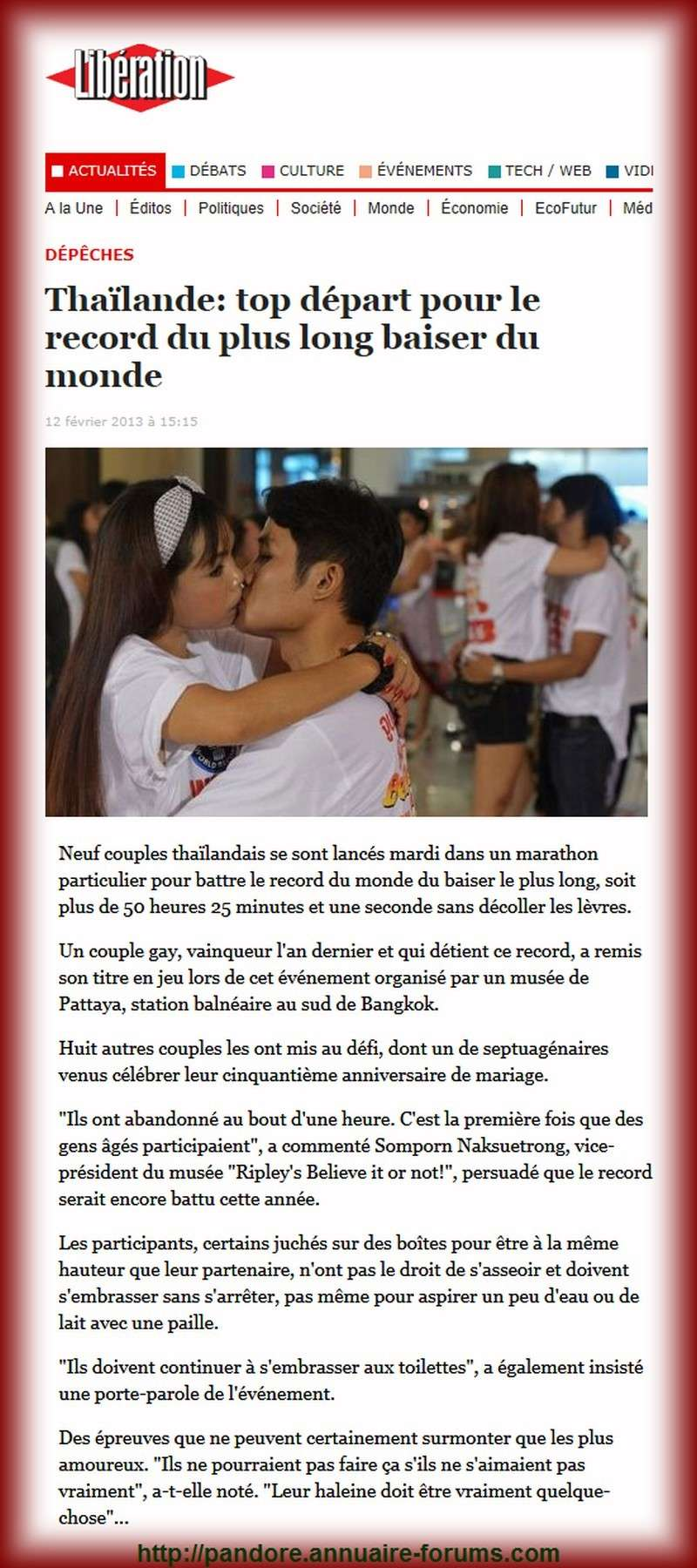 Neuf couples thaïlandais se sont lancés mardi dans un marathon particulier pour battre le record du monde du baiser le plus long A35