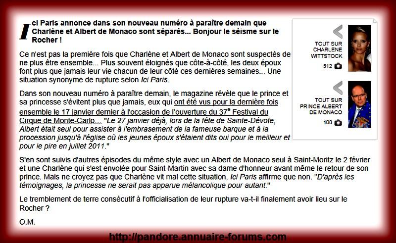 Ici Paris annonce dans son nouveau numéro que Charlène et Albert de Monaco sont séparés A51