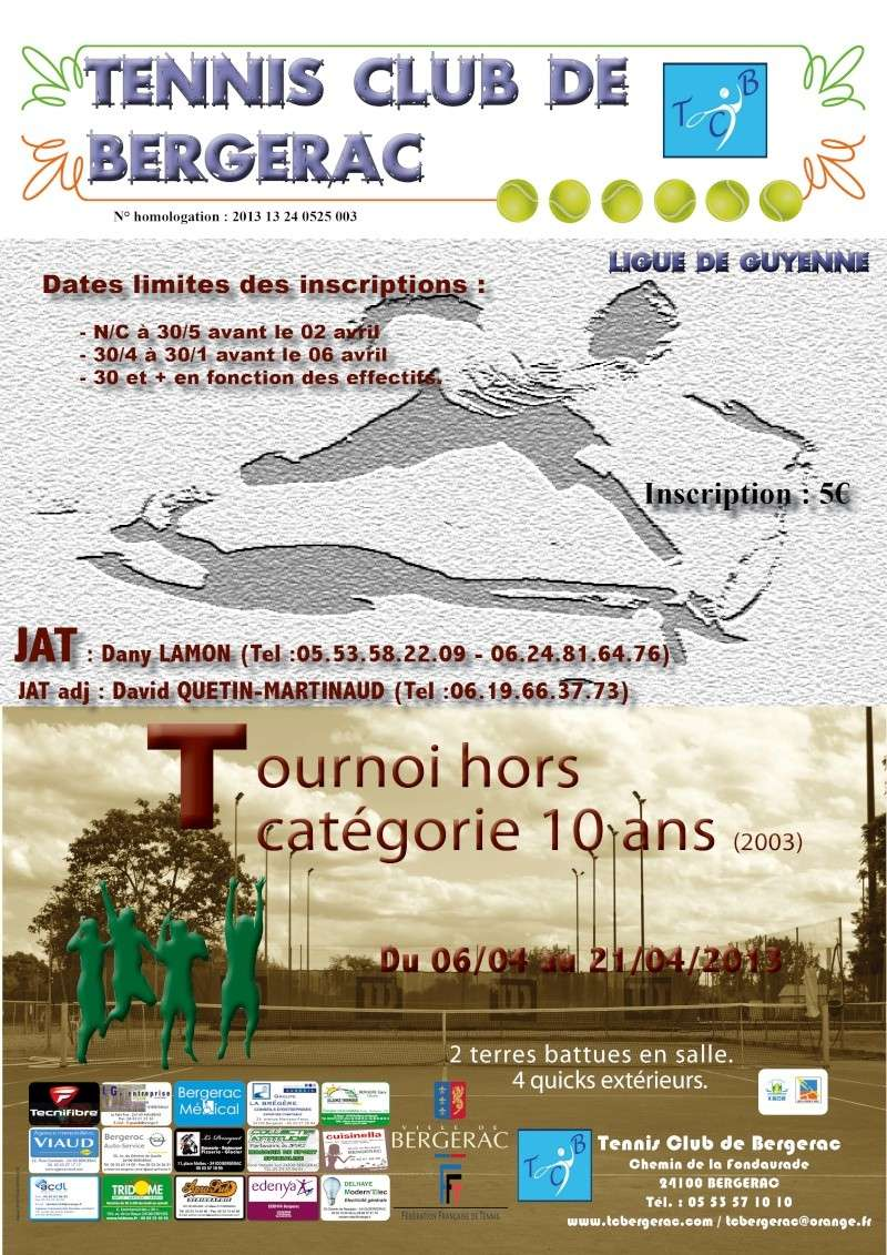 TC Bergerac - tournoi hors catégorie 10 ans   Jeunes10