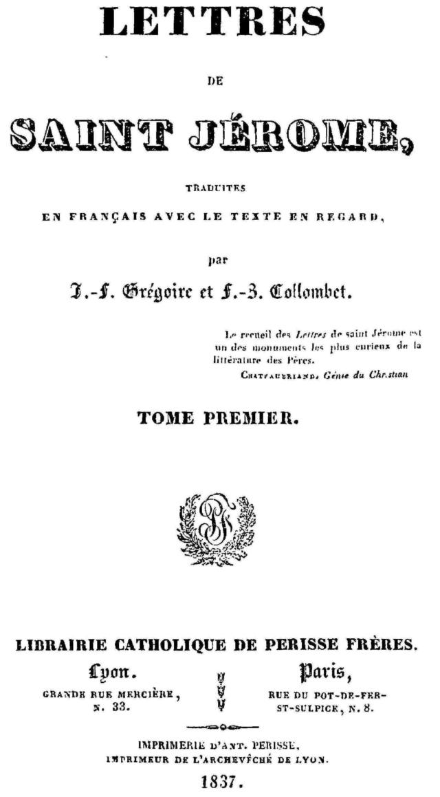 LETTRES de Saint Jérôme. Lettre10