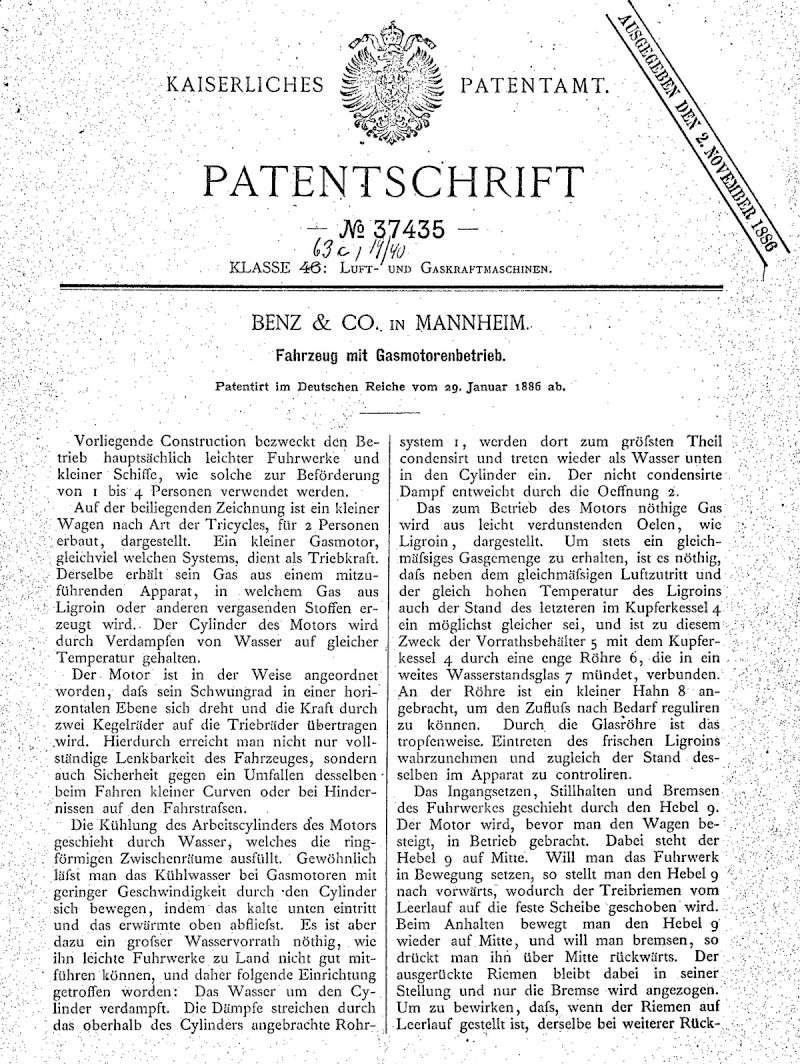 29. Januar 1886 - Berlin Patent10