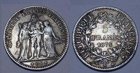 piece de monnaie 5 francs 1875