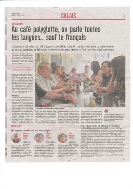 Article Nord littoral du 23 juillet 2018 à propos du café polyglotte de Calais Articl12