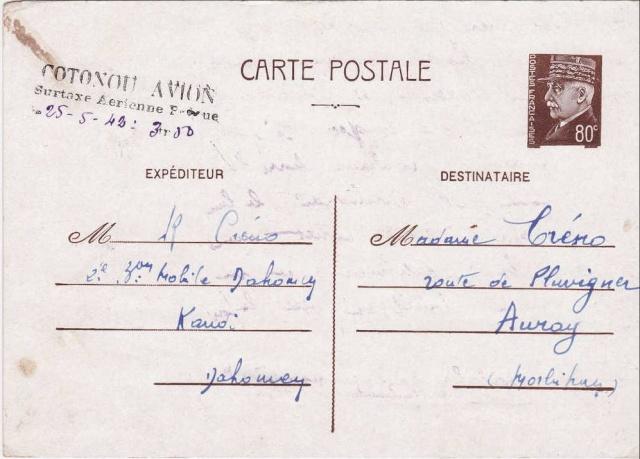 Utilisation des entiers Iris et Pétain et cartes interzones hors de France 303_0010