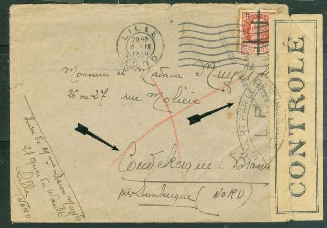 Timbres de la libération de Lille (oblitérations sur lettre). 598_0010