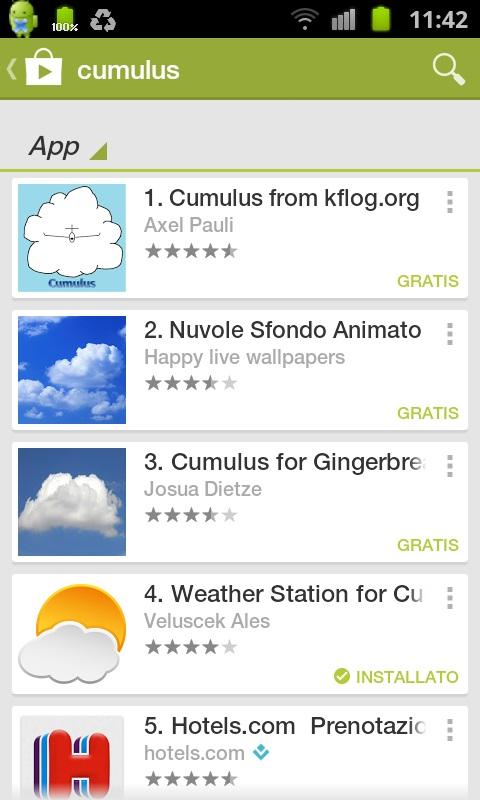 APP per cellulare android per vedere i dati della nostra stazione meteo Cumulu10