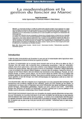Modernisation et Gestion du Foncier au Maroc 302p0k10
