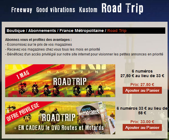 Abonnement Roadtrip Roadtr13