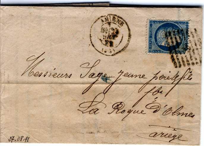 Oblitération d'Amiens - Août 1871 Amiens10