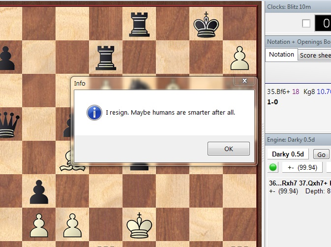 Darky a new chess engine Game10