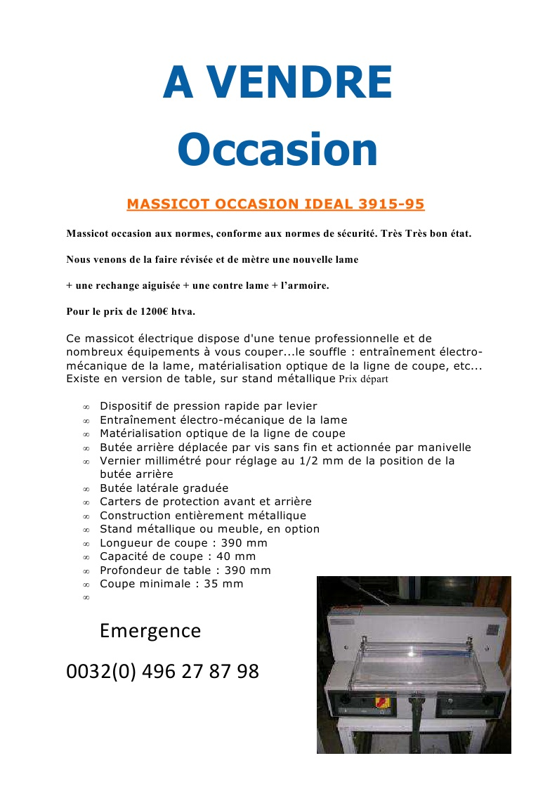 A VENDRE OCCASION MASSICOT OCCASION IDEAL 3915-95  Page113