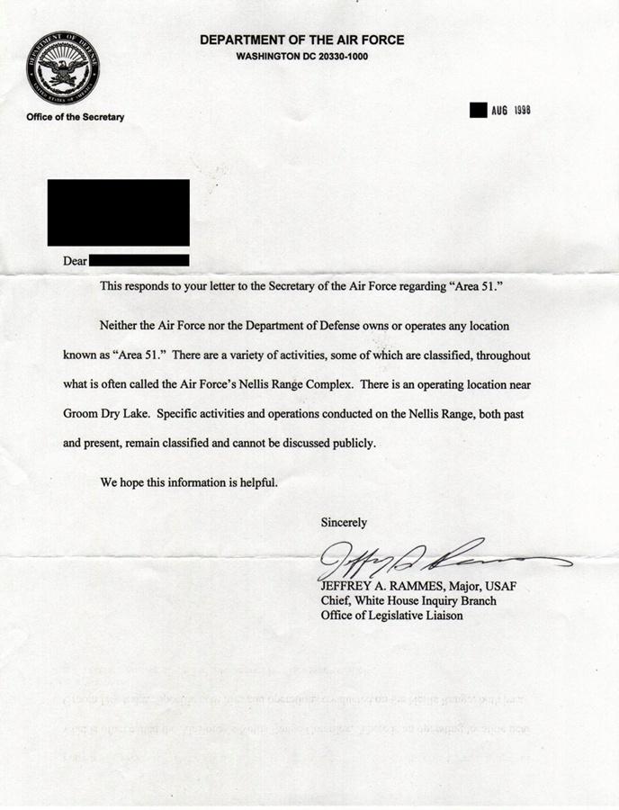 pour - ROSWELL – La CIA reconnaît pour la première fois l'existence de la Zone 51 Usaf_o10