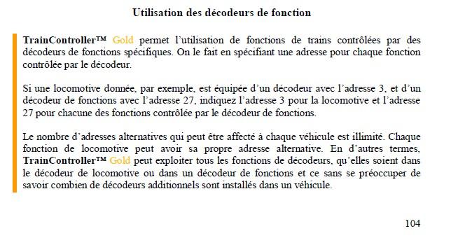 Decodeur de fonction et composition de train Decode10