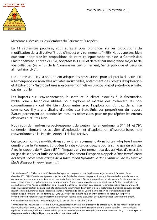 Directive EIE : interpellation des EuroDéputés P110