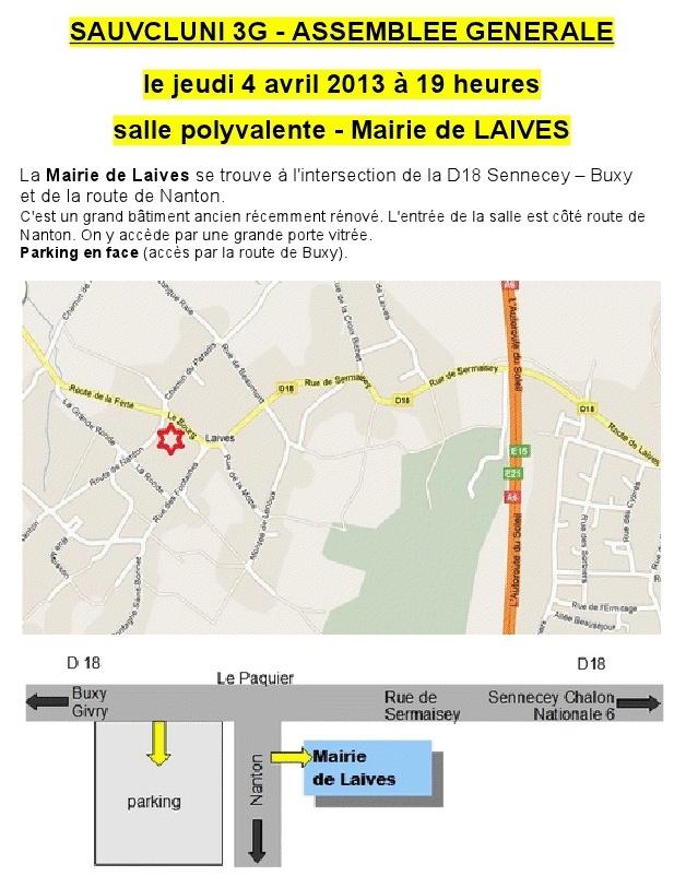 Assemblée Générale Sauvcluny jeudi 4 avril prochain à 19 h, à la salle polyvalente de Laives (71240). Sauvcl10