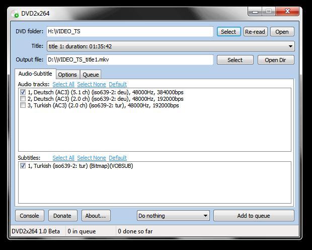 DVD2x264 1.3.268 Beta - DVD ripper που μετατρέπει audio και subtitles 2013-011