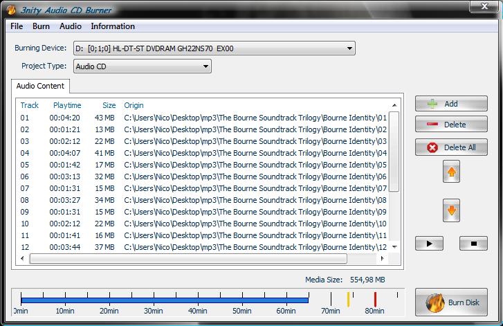 3nity Audio CD Burner 3.1 Audioc10