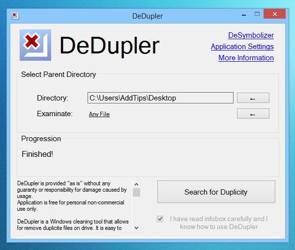 DeDupler 1.1 - Ένα εργαλείο καθαρισμού που επιτρέπει την αφαίρεση των διπλών αρχείων Dedupl10