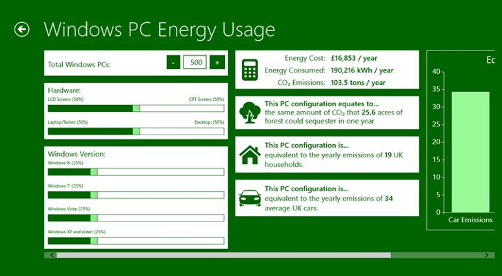 Microsoft Windows Energy Calculator Go-gre10