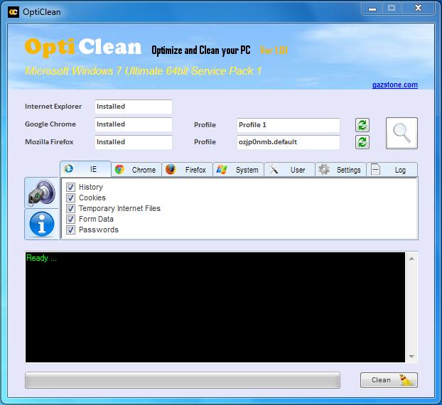 OptiClean 1.02 - Βελτιστοποιήστε και καθαρίστε το PC σας Opticl11