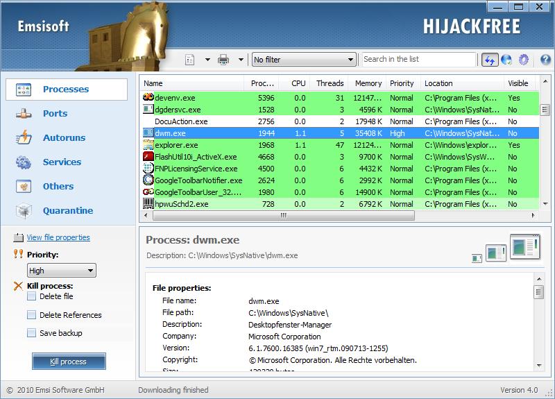 Emsisoft HiJackFree Ver: 4.5.0.10 Proces10