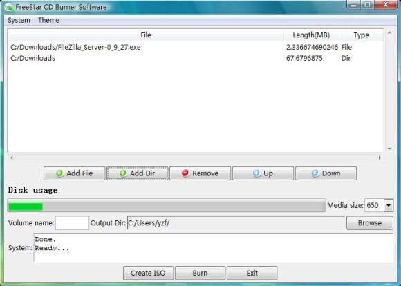 FreeStar CD Burner Software 2.0.1 Scree110