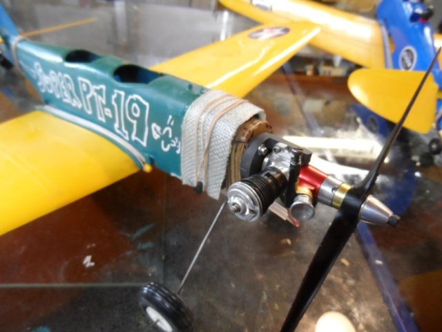 """Super PT-19 !!  IT FLYS !!!!!  (or, """"How I Test the Tensile Strength of Spider Wire !!) 4_14"""