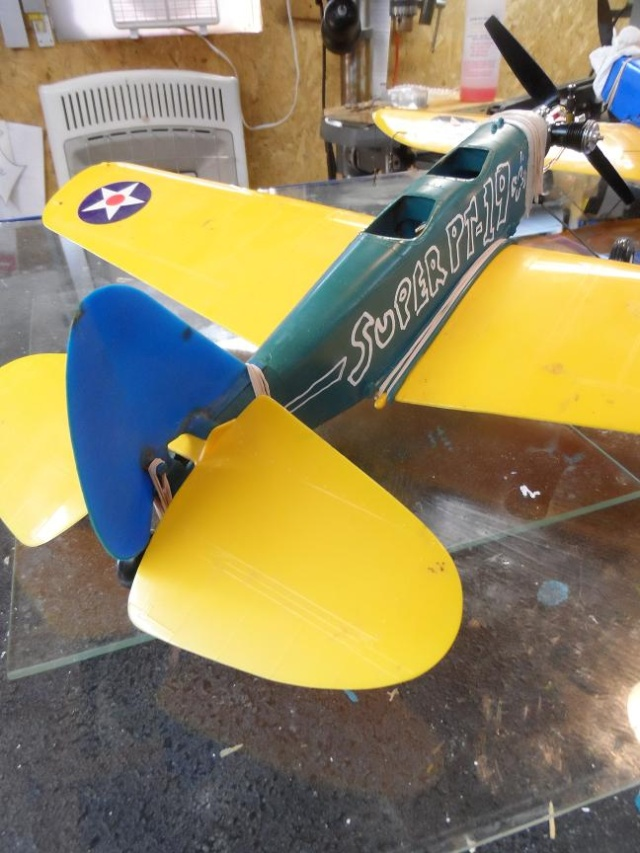 """Super PT-19 !!  IT FLYS !!!!!  (or, """"How I Test the Tensile Strength of Spider Wire !!) 6_15"""