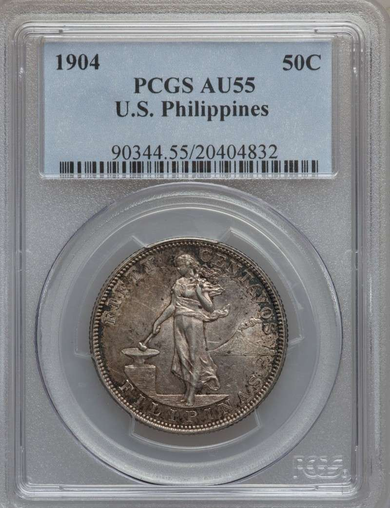 1904 USPI 50 Centavos PCGS-graded AU55 For Sale Ph190410