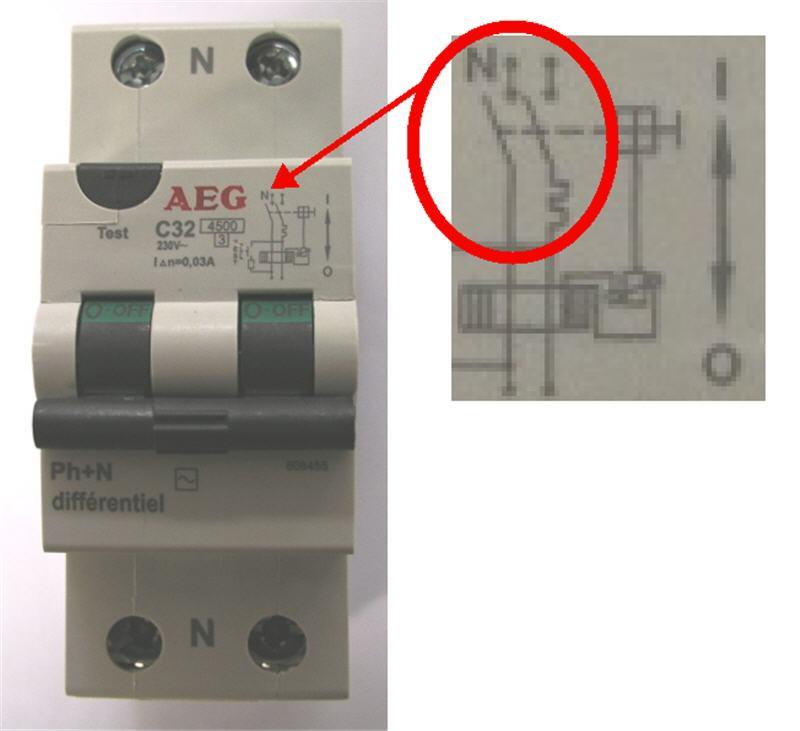 Branchement disjoncteur différentiel 30ma Dif-ae10