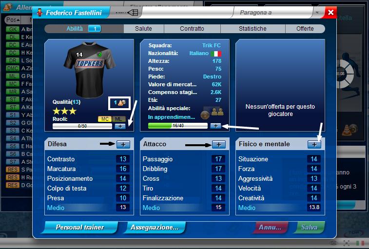 Top Eleven Football Manager : I punti abilità, le abilità speciali e il Personal Trainer Downlo12
