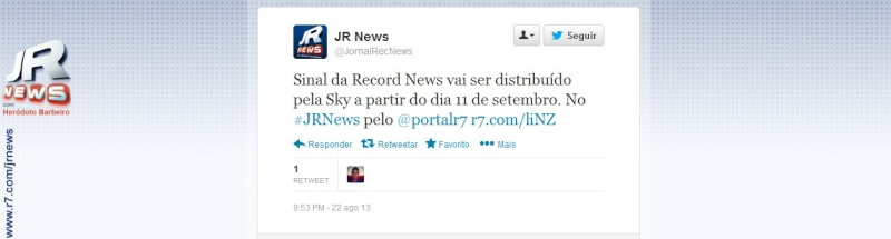 Twitter do Jornal da Record News anuncia data de entrada na SKY Screen11