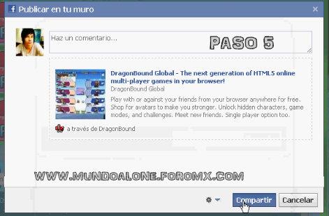 COMO RECLAMAR TU CASH EN DRAGONBOUND SIN PUBLICARLO EN TU PERFIL DE FACEBOOK Dragon14