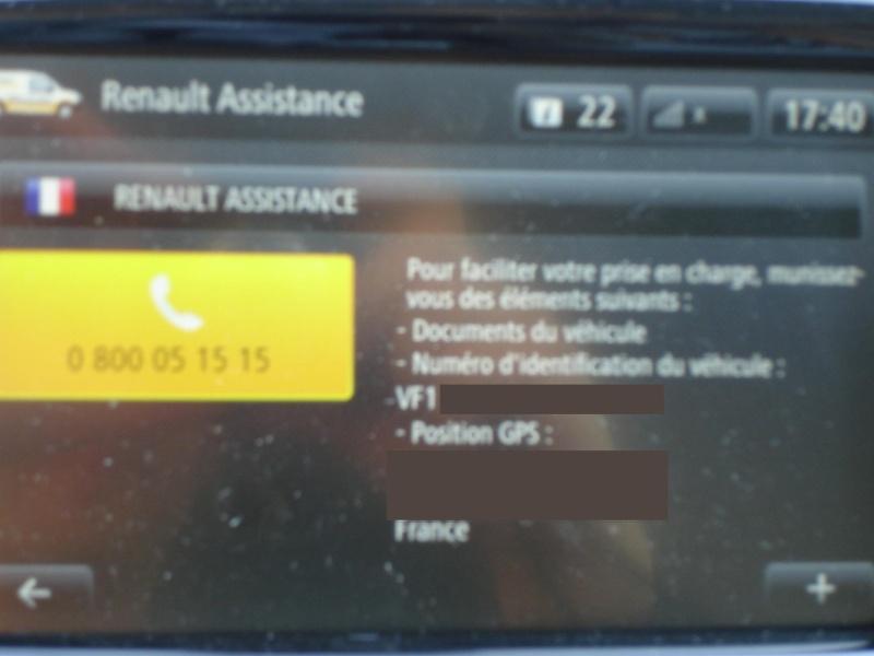 Ou trouver le N° de telephone de l'assistance Renault dans le RLINK ? Dsc07214