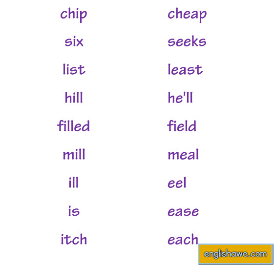 Minimal Pairs  /ɪ/ or / i: / English Phonetics   214