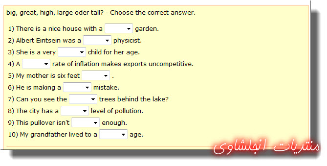 """The difference betwwen """"big, great, high, large and tall""""  in English with exercise 25-02-11"""