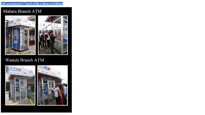 CDB commissioned 1st branch ATMs in Mahara and Wattala--  000_bm11
