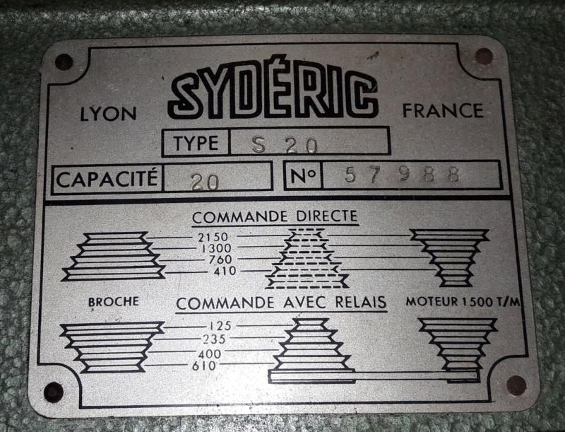 Perceuse à colonne Sydéric S20  / Démontage / Nettoyage / Remontage - Page 3 Plaque10