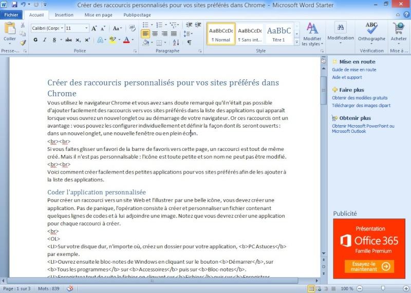Word et Excel gratuits : télécharger Microsoft Office Starter 2010 Office10