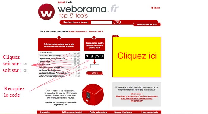 Aide aux utilisateurs pour le vote Weborama Webora11
