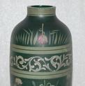 Enamel painted dark green glass vase c1910 Registered Depose 'LR' label  Dsc_2211
