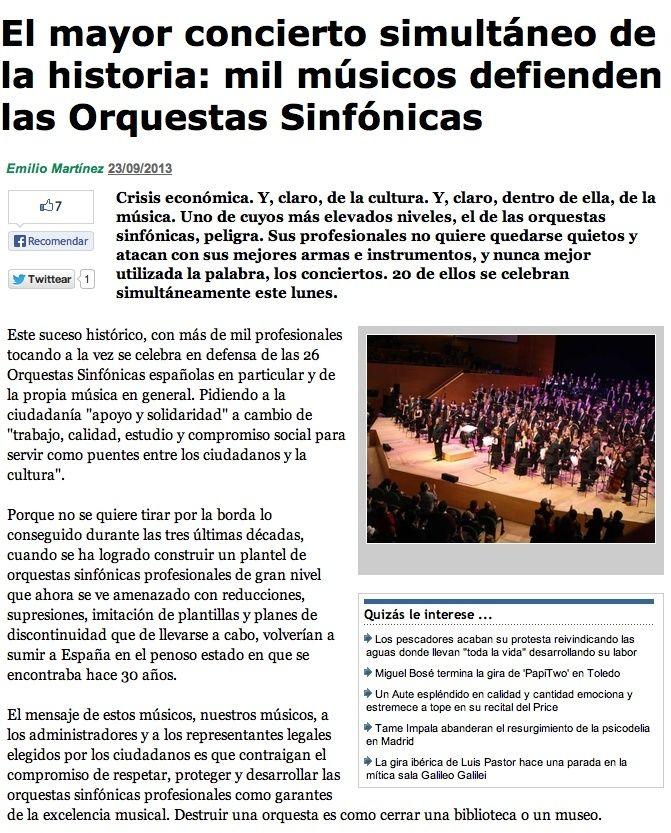El mayor concierto simultáneo de la historia: mil músicos defienden las Orquestas Sinfónicas Captur12