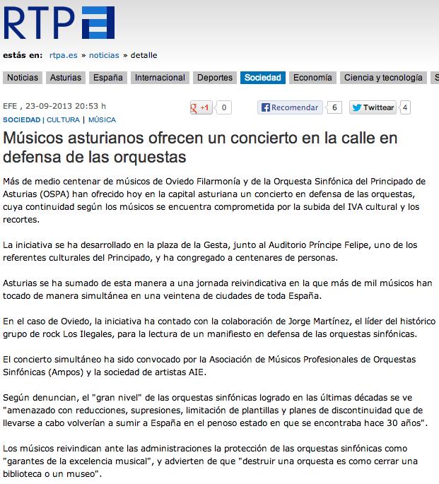 Músicos asturianos ofrecen un concierto en la calle en defensa de las orquestas Captur22